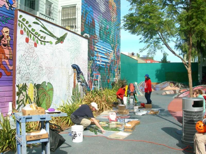 mini park mosaic mural process 2